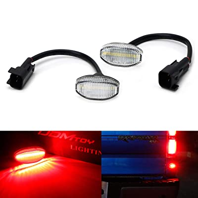 iJDMTOY Clear Lens Red Full LED Rear Below Taillight Side Marker Light Kit Compatible With 2010-14 Ford Raptor, Powered by 12-SMD LED, Replace OEM Back Sidemarker Lamps: Automotive
