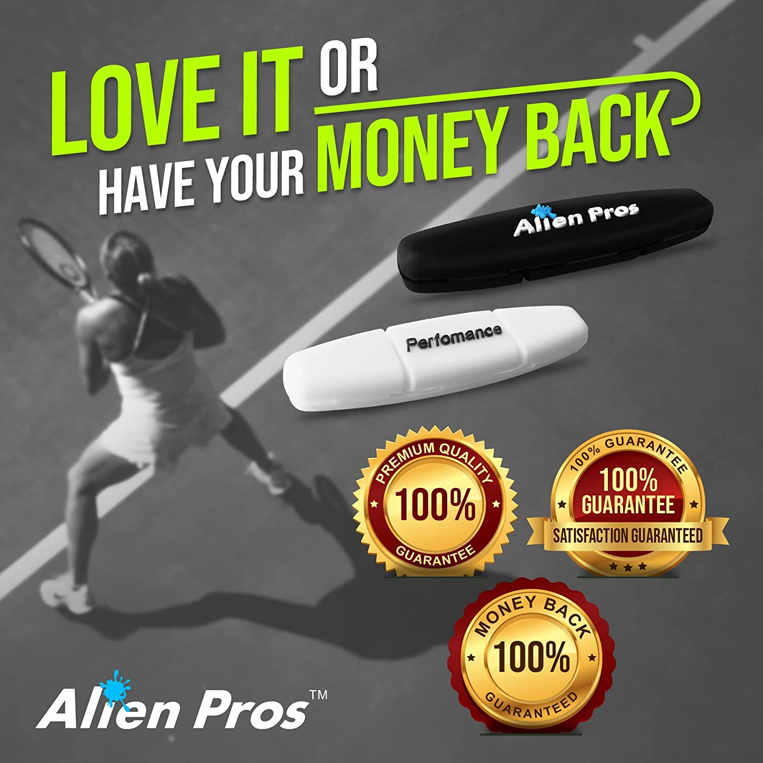Alien Pros Performance Tennis Racket Dampeners (3 Pack, Black) - Perfect Tennis Shock Absorbers stabilize Your Strings for Optimal Performance - ...