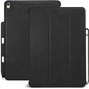 KHOMO iPad Pro 10.5 Inch & iPad Air 3 2019 Case with Pen Holder - Dual Black PU Leather Super Slim Cover with Rubberized Back and Smart Feature (Sleep & Wake)