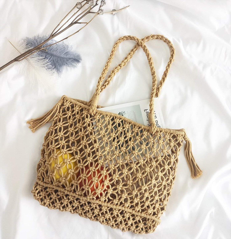 Casual Hollow Out Straw Bags Bohemian Tassel Women Handbags Rattan Totes Large Handmade Woven