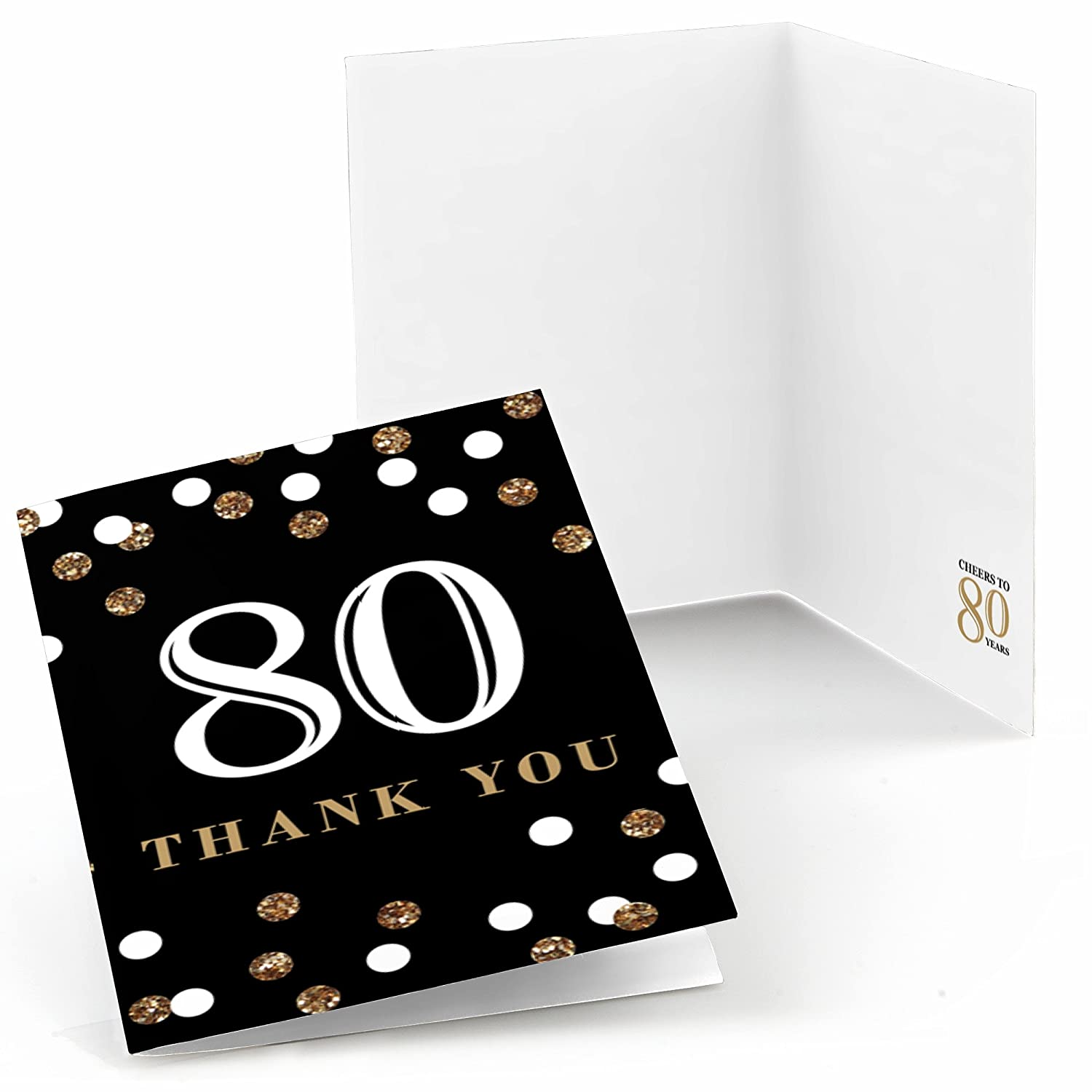 Birthday Party Thank You Cards Gold Big Dot of Happiness Adult 80th Birthday 8 Count