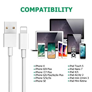 iPhone Charger,Atill Lightning Cable 5Pack 6FT iPhone Charging Cable Cord Compatible with iPhone X 8 8Plus 7 7Plus 6s 6sPlus 6 6Plus SE 5 5s 5c iPad iPod & More (white) (Color: white 6ft)