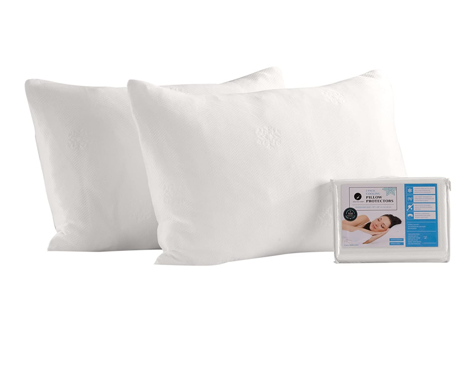 2 Pack Cooling Pillow Protectors. Breathable for Night Sweats. Durable, Machine-Washable, and Zippered. (King)