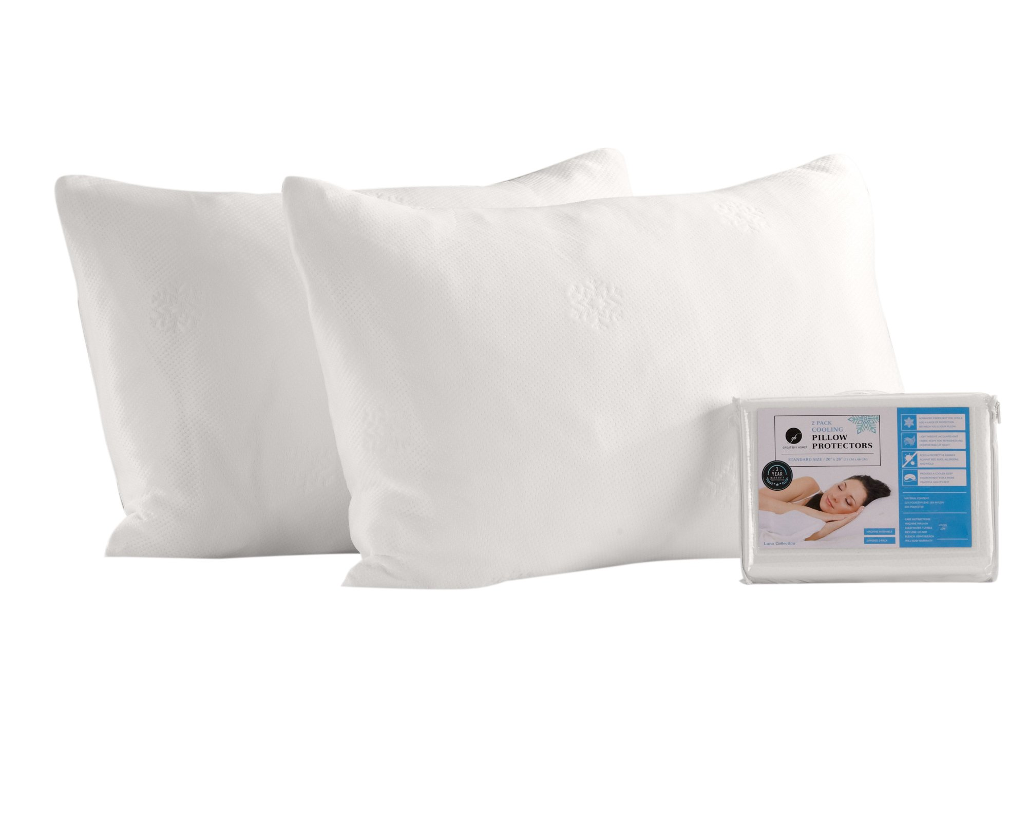 4 Pack Cooling Pillow Protectors. Breathable for Night Sweats. Durable, Machine-Washable, and Zippered. (Jumbo/Queen)