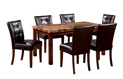 Awe Inspiring Furniture Of America Carignan 7 Piece 48 Inch Dining Table Set With Faux Marble Top Dark Oak Finish Download Free Architecture Designs Aeocymadebymaigaardcom