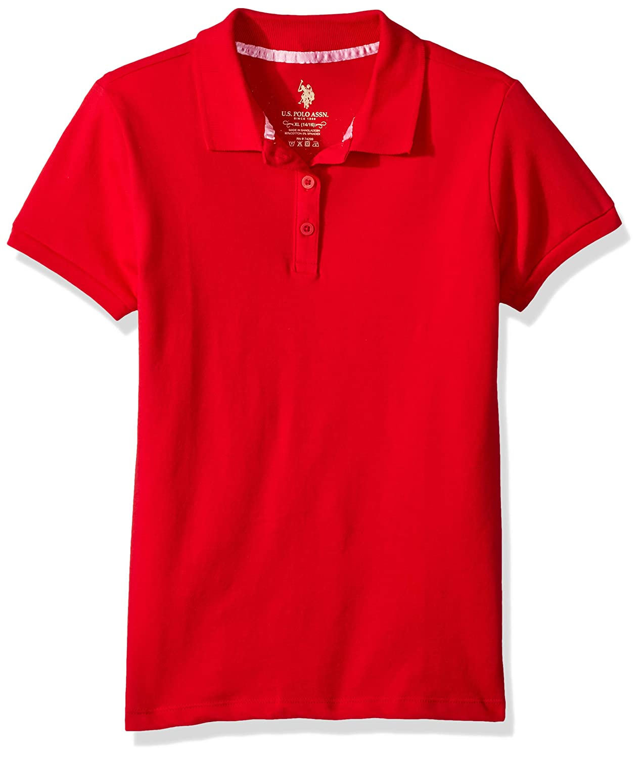 U.S. Polo Assn. Girls' Short Sleeve Stretch Pique Shirt, 7524