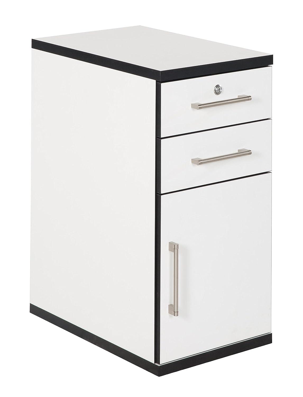 Phönix Chicago 806231WES Cassettiera per scrivania, con 2 cassetti e 1 anta, adatta per l'intera serie Chicago, 36 x 71 x 55 cm, colore: bianco con bordi neri
