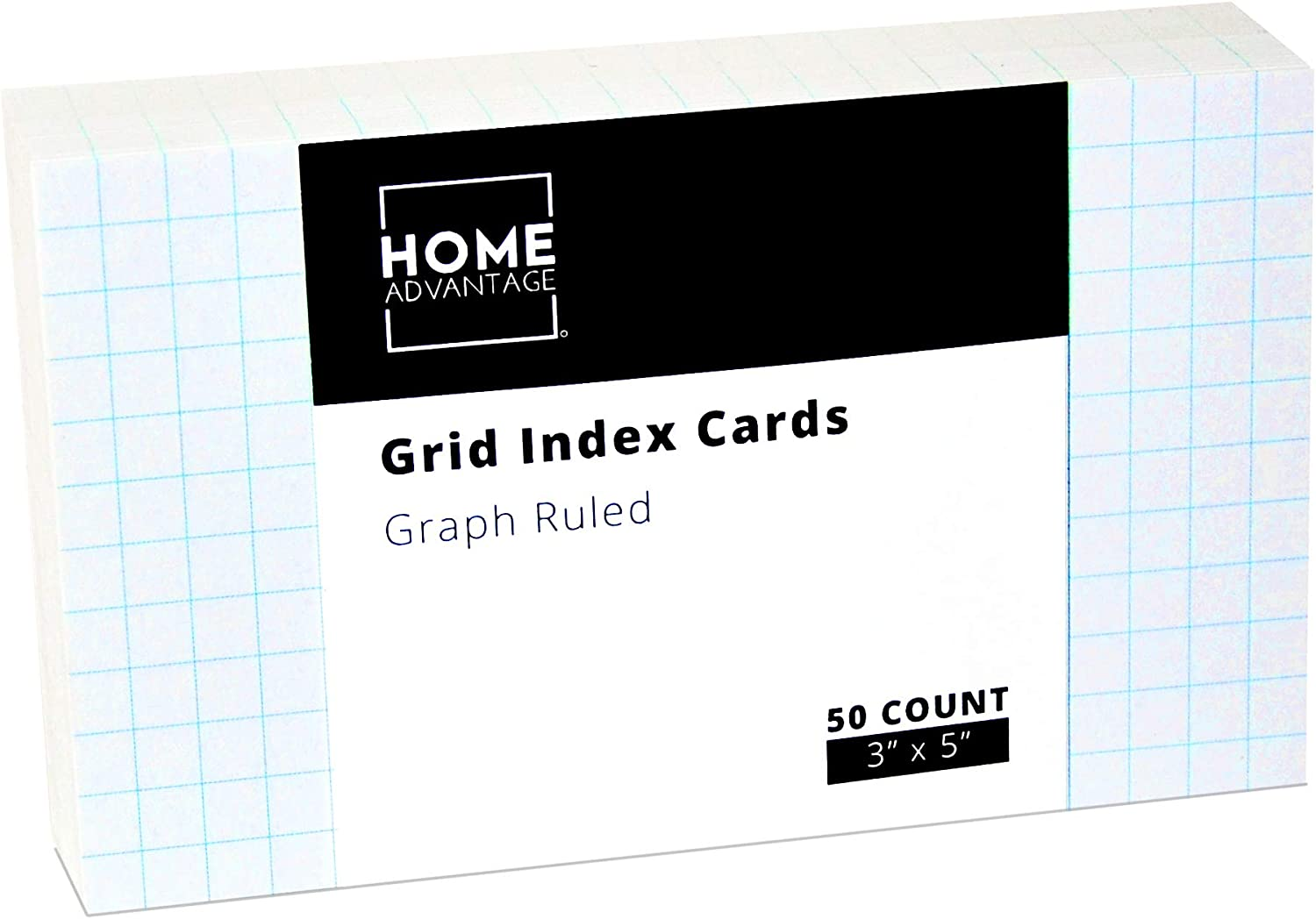 Home Advantage Double Sided Grid Index Cards, Graph Ruled (3-x-5-inch) : Office Products