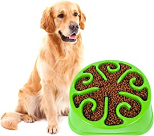KASBAH Slow Feeder Dog Bowl for Large Dogs, Anti-Gulping Maze Dog Food Bowl Bloat Stop Puzzle Bowl Non-Toxic Eco Friendly Anti-Choke Large Dog Bowls,One Size, D-Green