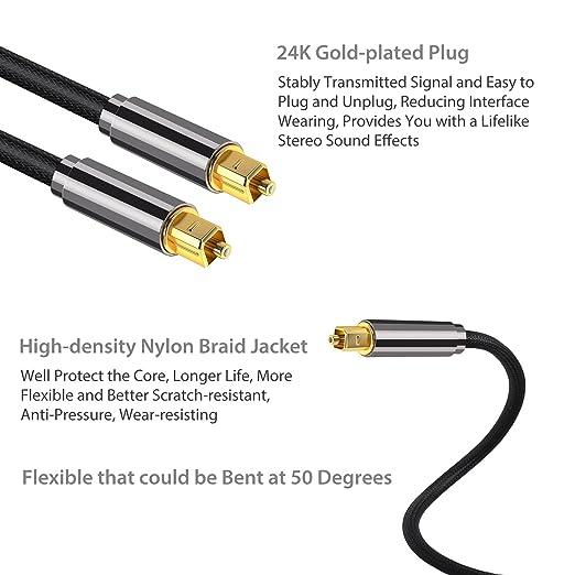 Neoteck Fibra Óptica 2m Audio Cable de Digital Óptico Fibra Óptico S/PDIF Toslink Cable con Conectores Dorados 24 K y Funda de Trenzado de Nylón para PS3 ...
