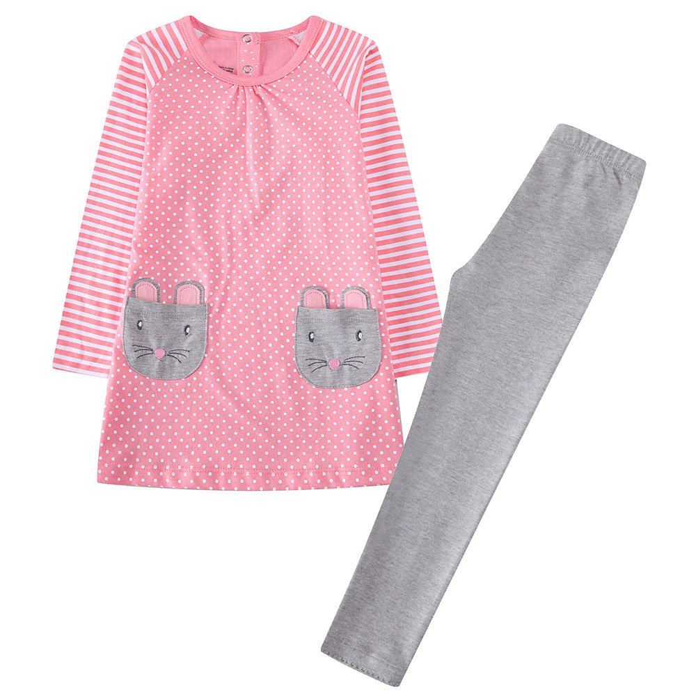 Amazon.com  Girls Clothing Set Long Sleeve Kids Top Dress Leggings Outfit  2pcs  Clothing aaa9b9132437