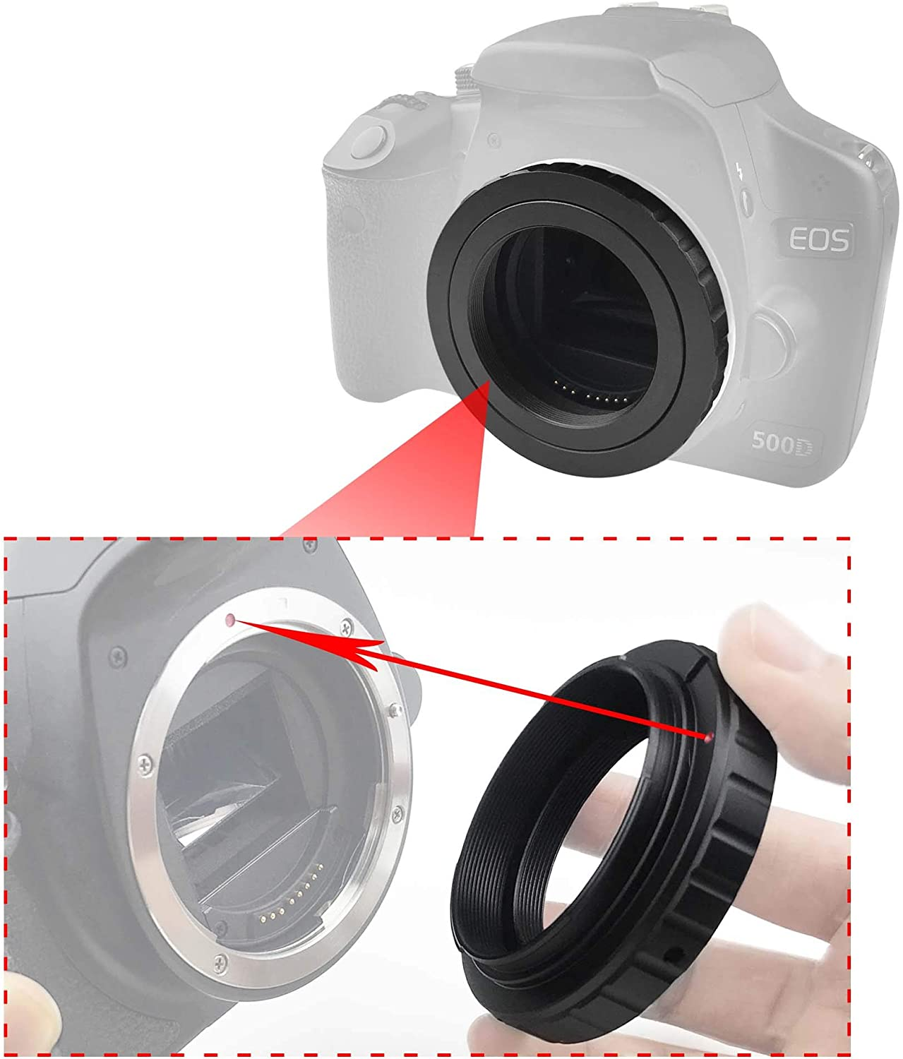 Bewinner Camera Converter,T2//T Mount Aluminum Lens Adapter Ring for Canon EOS EF DSLR 650D 60D 550D,Detachable Adapter Ring,Can Use Alone,Convenient and Practical