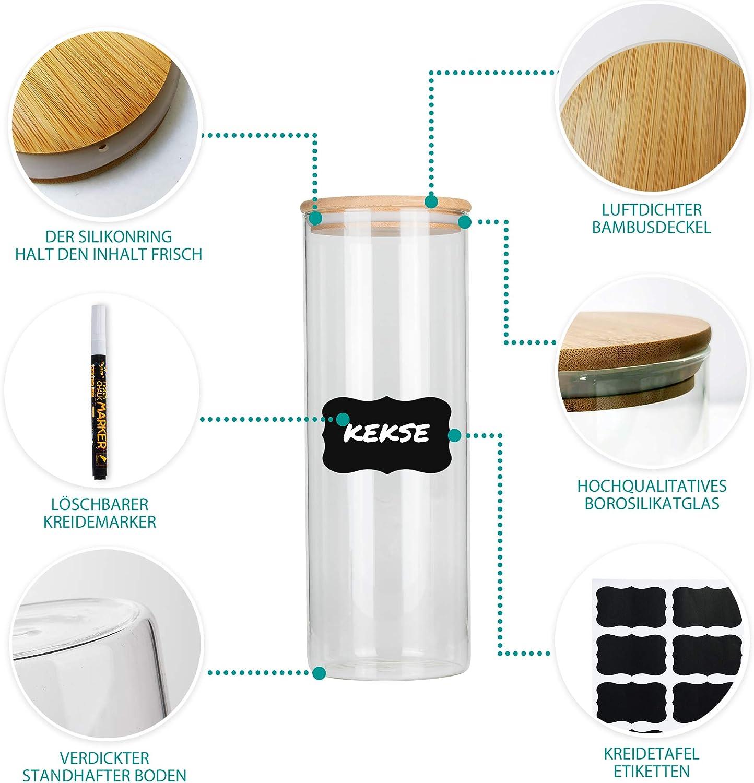 Deco haus Tarro de Cristal de borosilicato con Tapa de bamb/ú Vidrio 3 Unidades