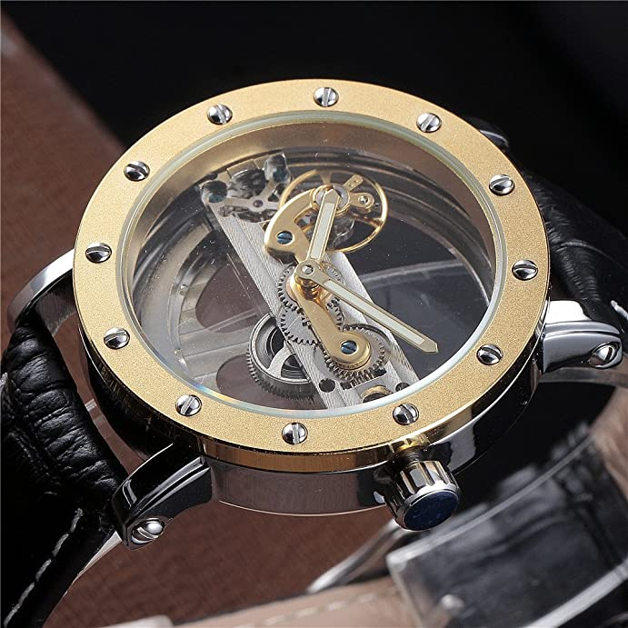Amazon.com: Forsining Gold Hollow Automatic Mechanical Watches Men Luxury Leather Strap Casual Vintage Skeleton Clock: Watches