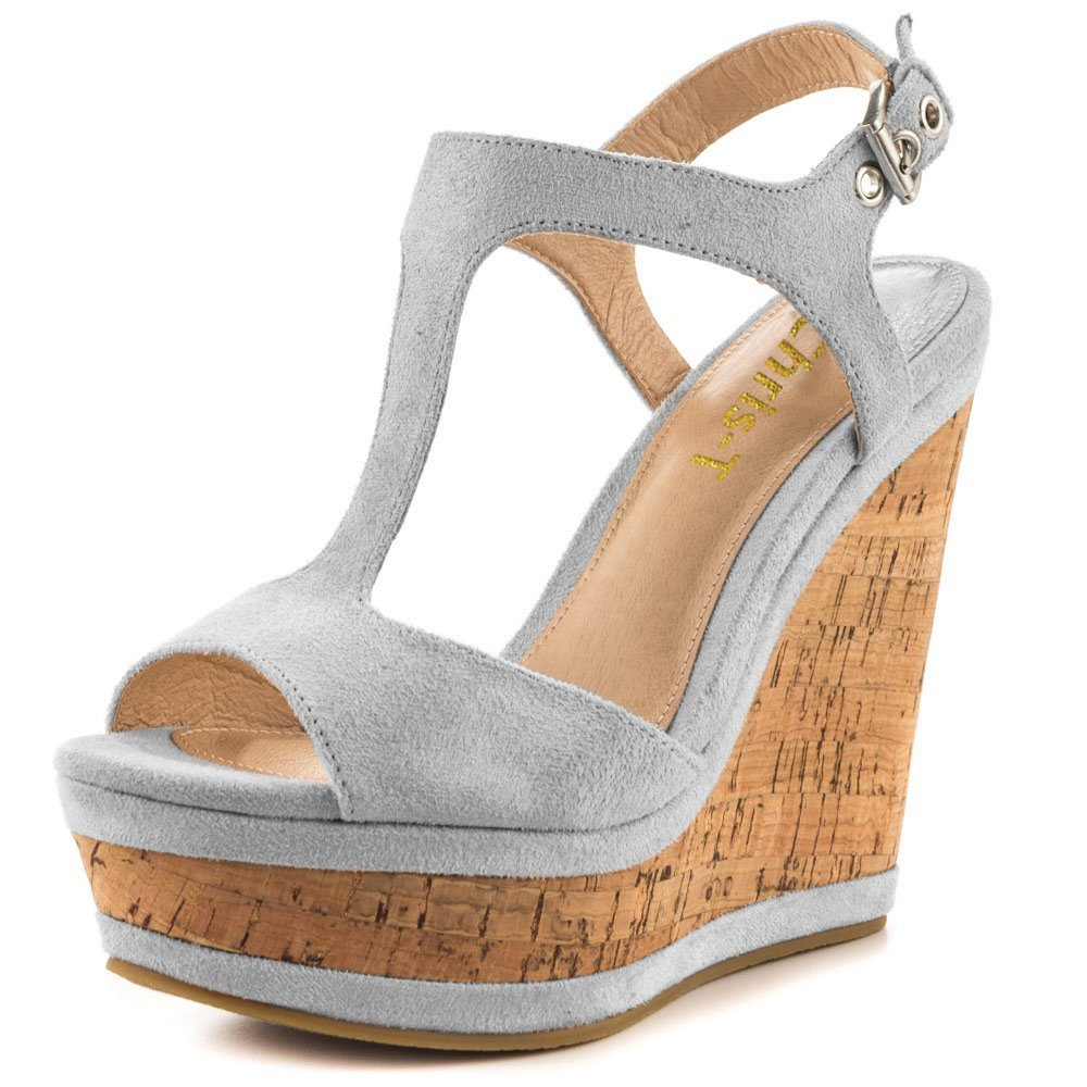 Chris-T Women's Wedges Sandals High Platform Open Toe Ankle Strap Party Shoes B07D4H6N5D 8 B(M) US|Gray S