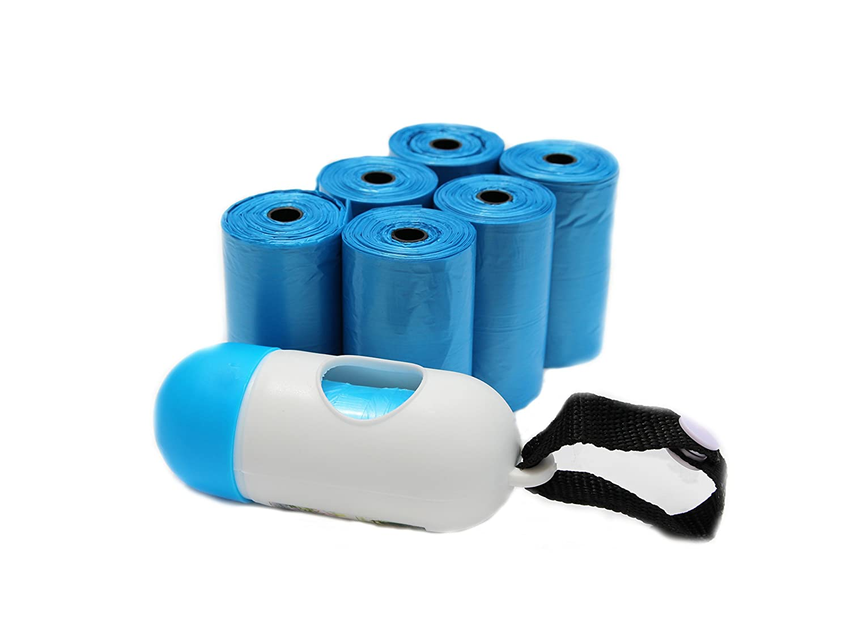 Diaper Trash Bags, Premium Disposable Plastic Diaper Refill Bags, Baby Poof Bags, Mini Trash Bag/Can, Dispenser, Unscented, 100 Count(Blue) Carmaxs