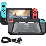 Case for Nintendo Switch, Tendak Slim Rubberized Hard Protective Grip Case Cover with USB Type C Charging Cable for Nintendo Switch 2017 Release (Black)