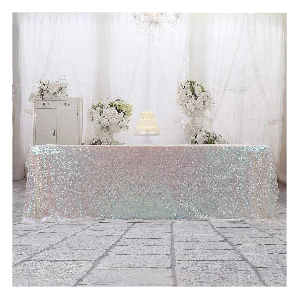 3e Home 60x120 Rectangle Sequin Tablecloth for Wedding Party Cake Table, Iridescent