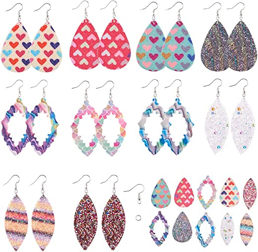 12 Pair Leather Earrings Making Supplies Kit for Starter,24Pcs Faux Leather Sheet Teardrop Shape with 50 Pcs Earring Hooks 50Pcs Silicone Earring Backs,50 Pcs Jump Rings for DIY Craft Dangle Earring