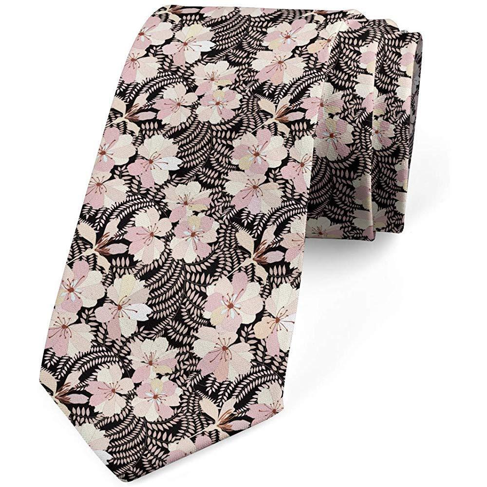 Mathillda Corbata para hombres, tema floral popular, gris carbón y ...