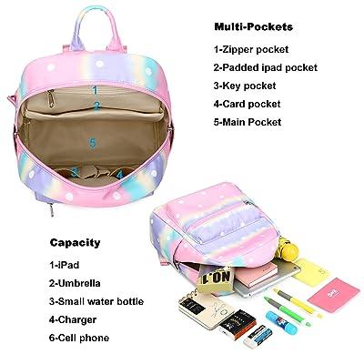 Y0094-2 Tie Dye CAMTOP Girls School Backpack Rainbow Kids Bookbag with Lunch Box for Preschool Kindergarten Elementary