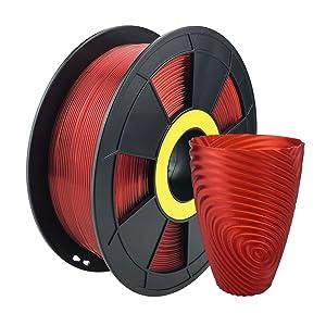 ZIRO PLA Translucent Filament 1.75mm,3D Printer Filament PLA PRO Translucent Series 1.75 1KG(2.2lbs), Dimensional Accuracy +/- 0.03mm,Translucent Red