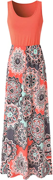 Zattcas Womens Summer Contrast Sleeveless Tank Top Floral Print Maxi Dress Orange Coral Small best women's sundresses