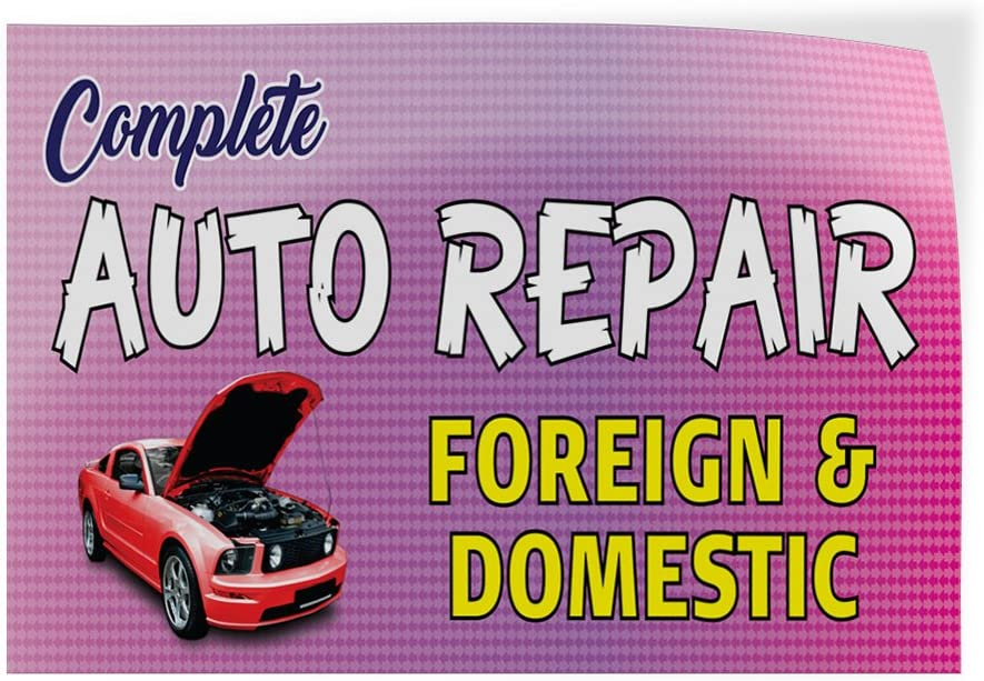 Decal Sticker Multiple Sizes Complete Auto Repair Foreign /& Domestic #1 Style C Automotive auto Repair Outdoor Store Sign Pink Set of 2 54inx36in