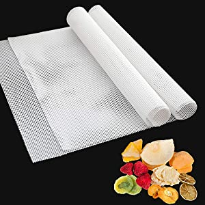 Pack of 6 Square Silicone Dehydrator Sheets, Non-stick Food Fruit Dehydrator Mats, Reusable Steamer Mat Mesh for Fruit Dryer (14 x 14 inches)