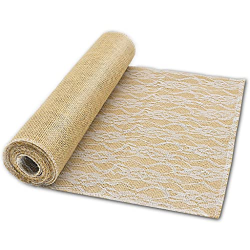 yuqi 12 x 85 natural jute hessian burlap lace table runner for rustic wedding