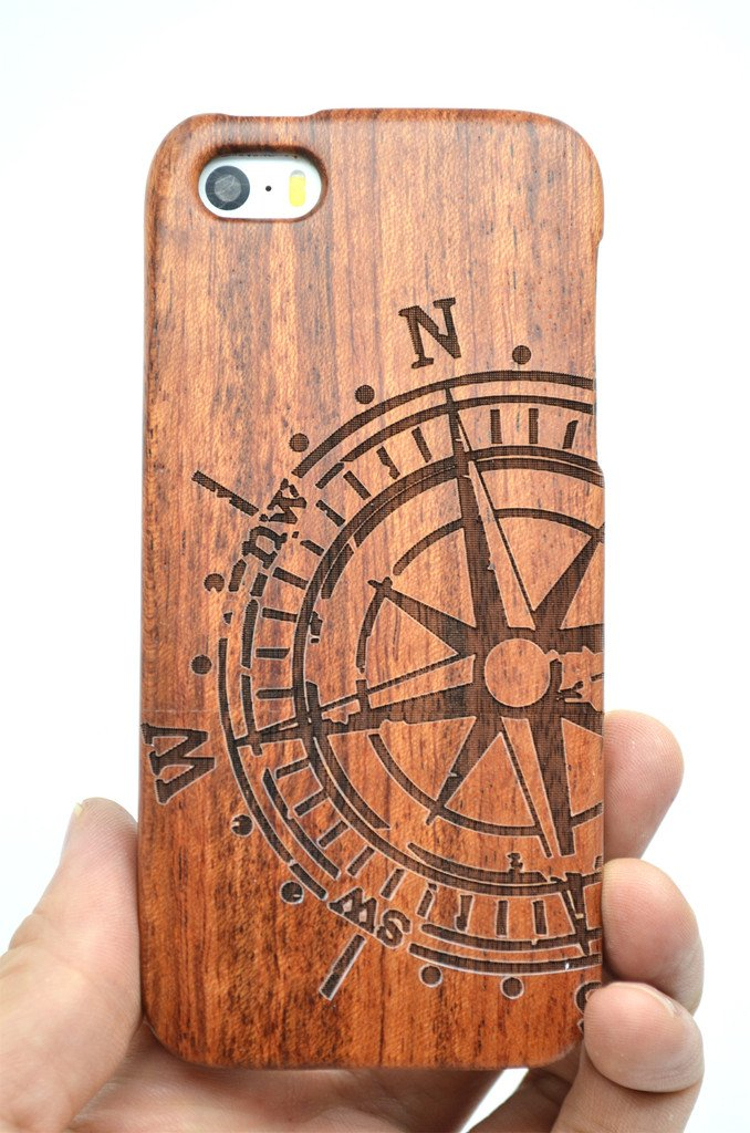 VolksRose iPhone SE iPhone 5S iPhone 5 Wood Case - Rose Wood Compass - Premium Quality Natural Wooden Case for Your Smartphone and Tablet by VolksRose