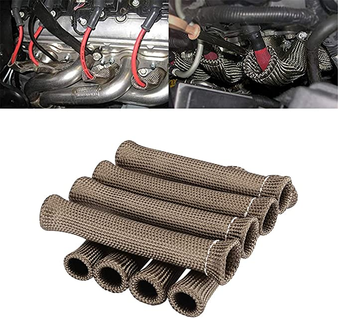 VMS SILVER 6 SPARK PLUG WIRE BOOT HEAT SHIELD PROTECTOR SLEEVE SLEEVING FUEL OIL