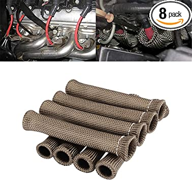 SET OF 8 SPARK PLUG WIRE BOOT HEAT SHIELD PROTECTOR1200° FOR CHEVY SBC BBC 350
