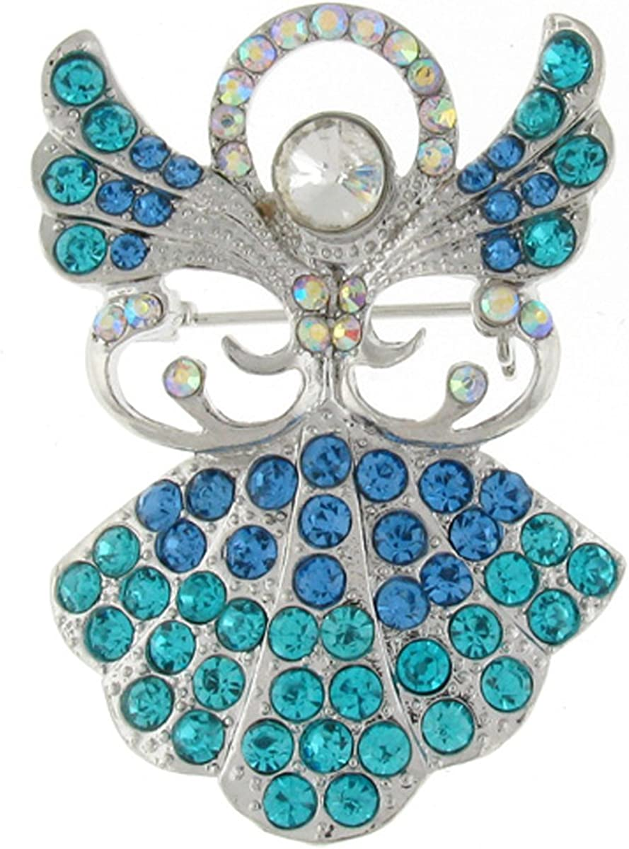 PYNK Jewellery Brooches Store Blue and Turquoise Crystal Guardian Angel Brooch