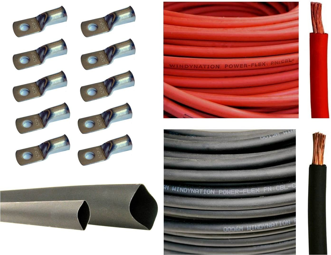 """1/0 Gauge 1/0 AWG 25 Feet Red + 25 Feet Black Welding Battery Pure Copper Flexible Cable + 10pcs of 3/8"""" Tinned Copper Cable Lug Terminal Connectors + 3 Feet Black Heat Shrink Tubing"""