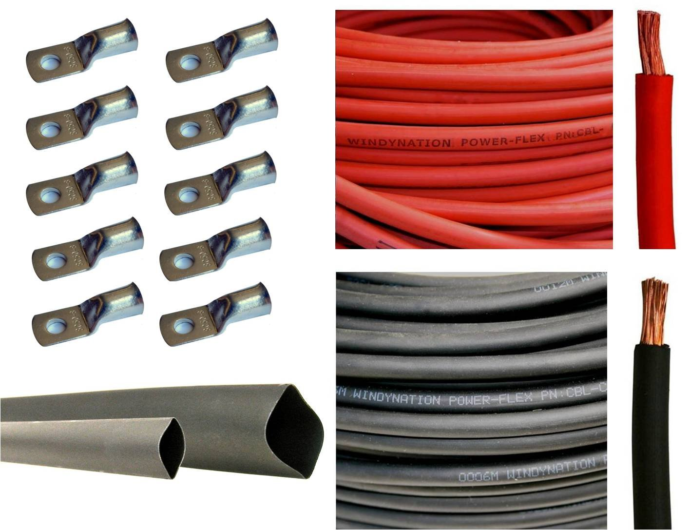 6 Gauge 6 AWG 10 Feet Red + 10 Feet Black Welding Battery Pure Copper Flexible Cable + 10pcs of 3/8'' Tinned Copper Cable Lug Terminal Connectors + 3 Feet Black Heat Shrink Tubing by WindyNation