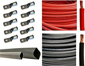 """4 Gauge 4 AWG 25 Feet Red + 25 Feet Black Welding Battery Pure Copper Flexible Cable + 10pcs of 3/8"""" Tinned Copper Cable Lug Terminal Connectors + 3 Feet Black Heat Shrink Tubing"""
