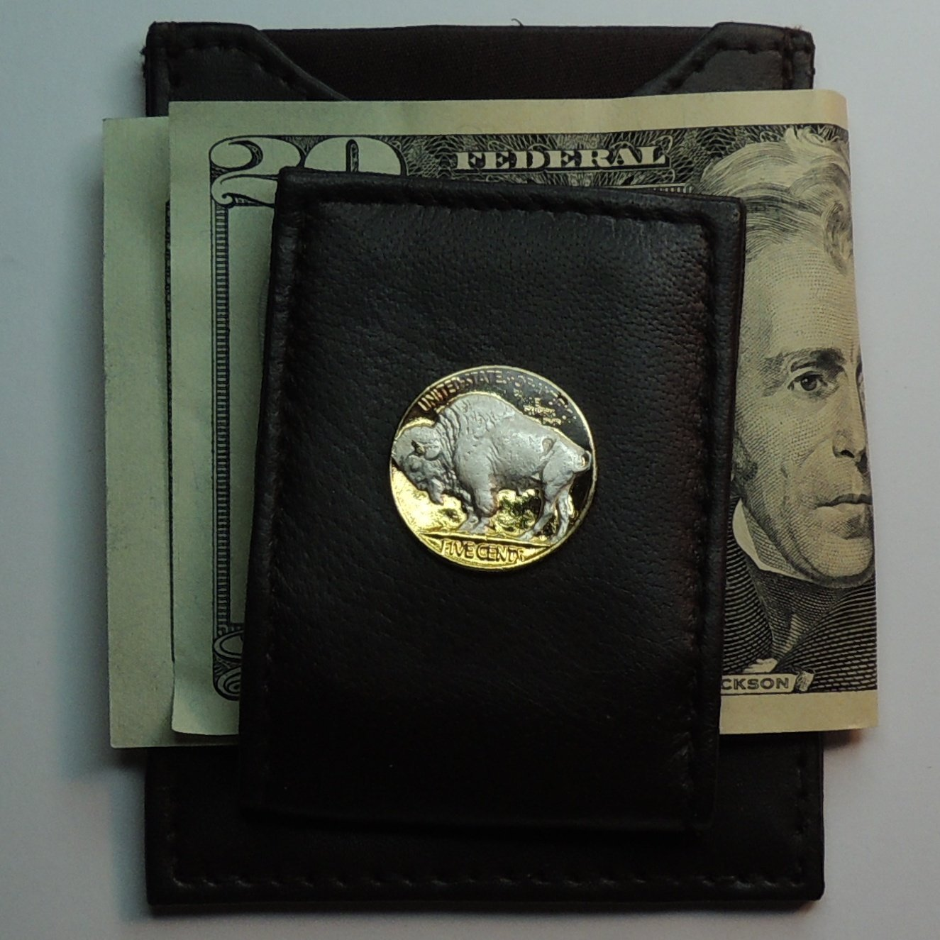 37480817672f Amazon.com: White Buffalo Five Cent - Gorgeous 2-Toned (Uniquely Hand done)  Silver on Gold Coin - Leather Money clip For men card holder credit card  holder: ...