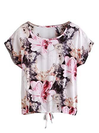 11298c2431 SheIn Women's Print Cuffed Short Sleeve Chiffon Shirt Blouse Top (one-Size,  ...
