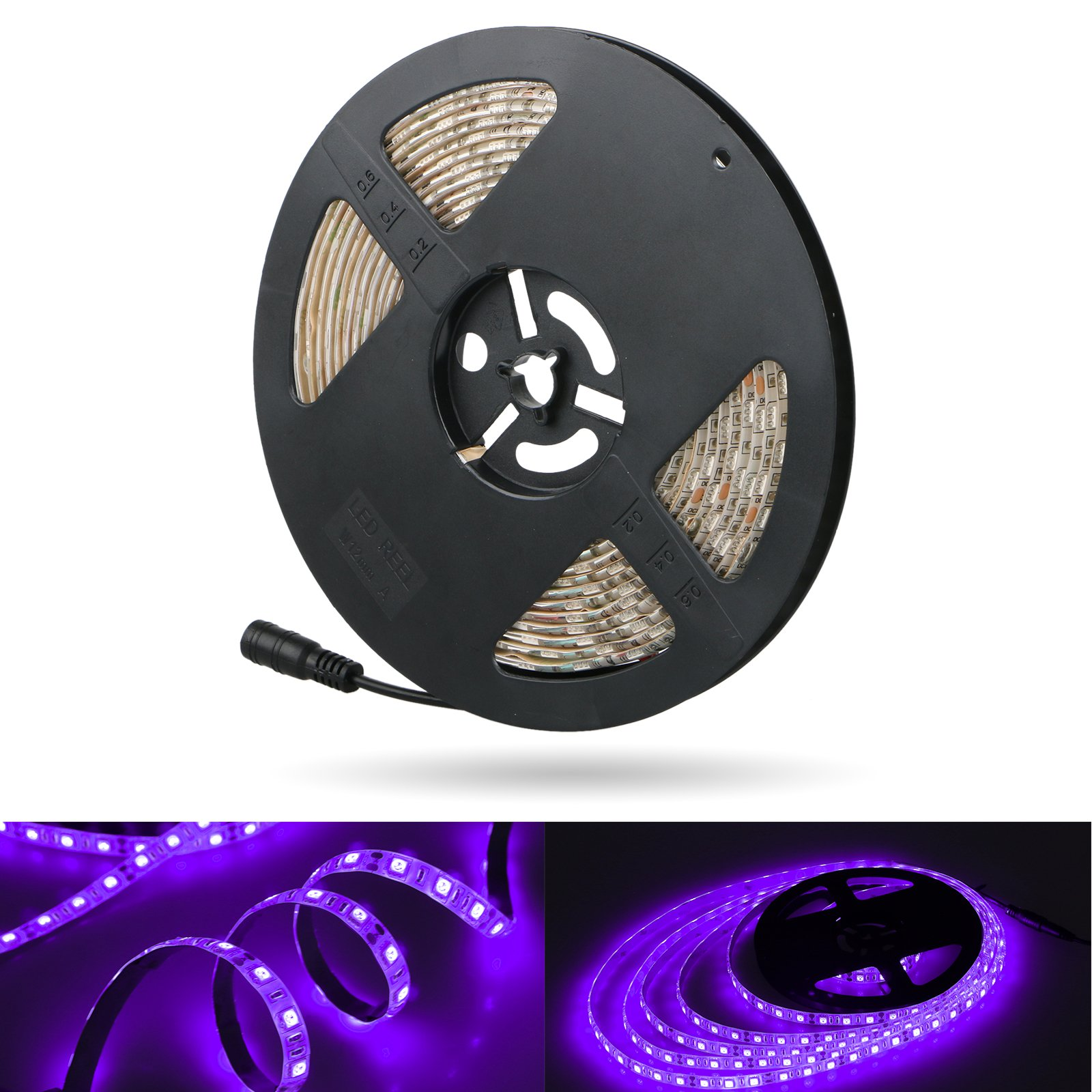 LinkStyle UV Black Lights LED Strip, 16.4Ft 300 LEDs 5050 SMD Ultraviolet Light UV LED Strip Light, Flexible & IP65 Waterproof DC 12V Purple Light Night Fishing(Power Adapter Not Included)