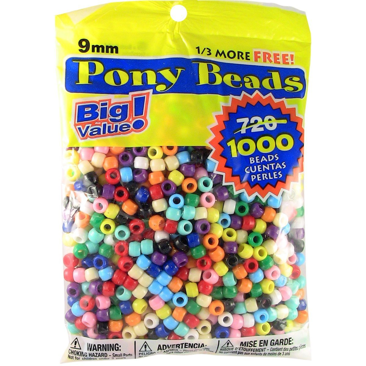 Pony Beads Multi Color 9mm 1000 Pcs in Bag 3 Pack