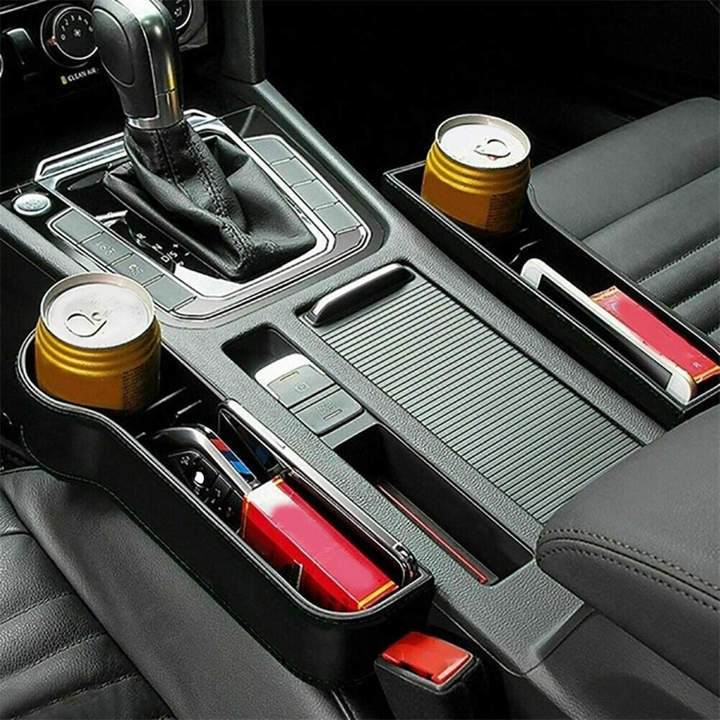 Autositz Side Gap Filler ABS-Kunststoff auslaufsicherer Aufbewahrungsbox Organizer Seat Side Drop Catcher Tablett Links Grizy Autositz Gap Aufbewahrungsbox Organizer Seat Crevice Slit Pockets