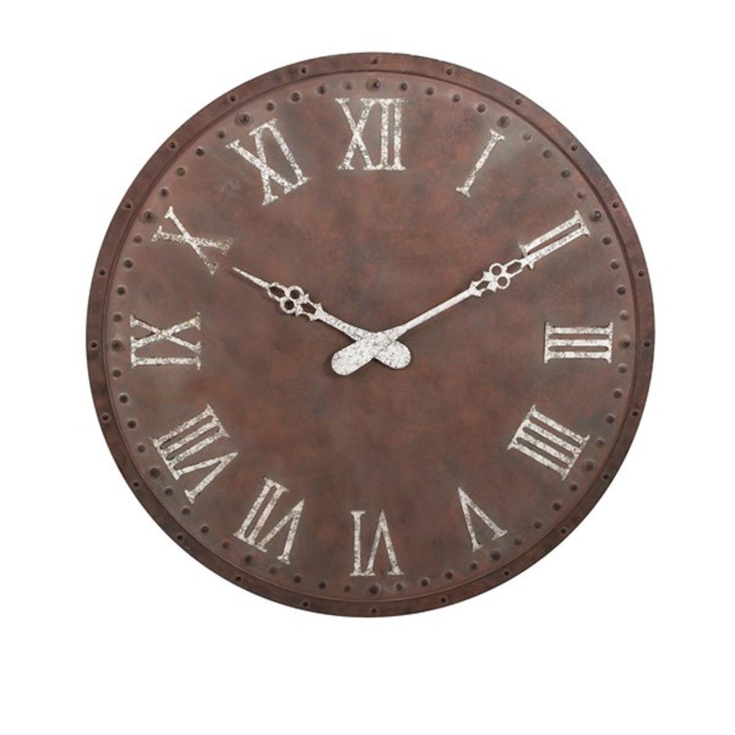 """45"""" Weathered Brown and White Rustic Style Decorative Oversized Wall Clock"""