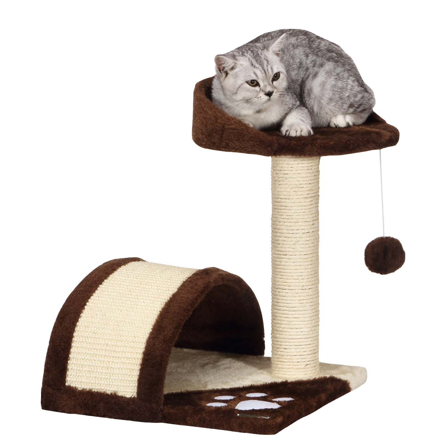Ollieroo Small Cat Tree Sisal Scratching Post Furniture Playhouse Pet Bed Kit