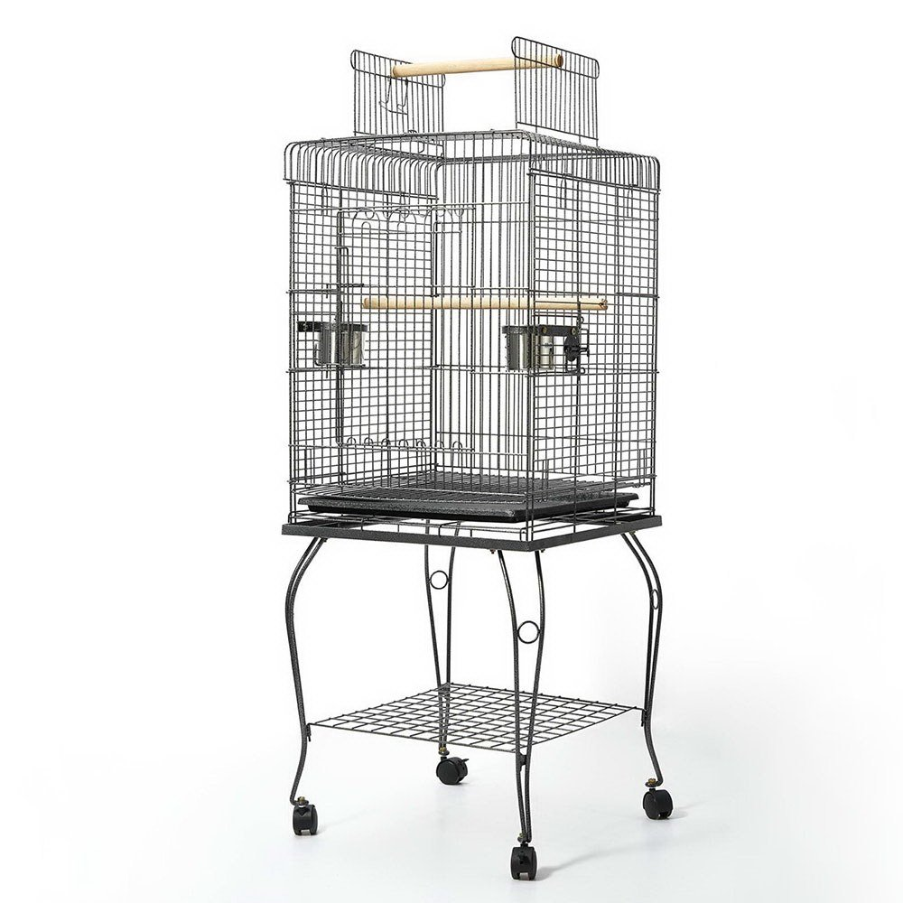 145cm 145cm Bird Cage Parred Aviary Pet Stand-alone Budgie Perch Castor Wheels Large