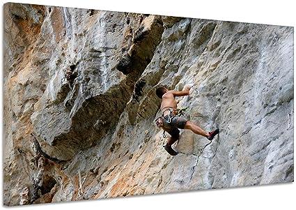 Escalador Rocas pared Escalada Fuerza cuerda Lienzo Póster ...