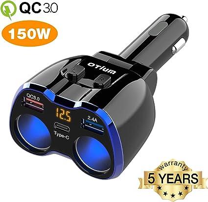 Amazon.com: Cargador de coche, Otium 150 W 2 enchufes de ...