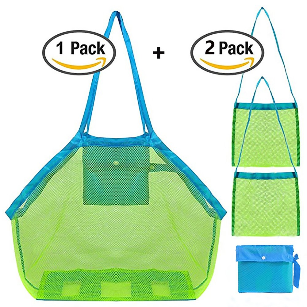 Mesh Beach Bag for Toys,1pack Large Mesh Beach Tote Holding Children's Toys+2pack Shell Bags for Kids,Beach Toy Bag Away from Sand,Bag Toys Organizer, Swimming Equipment Storage