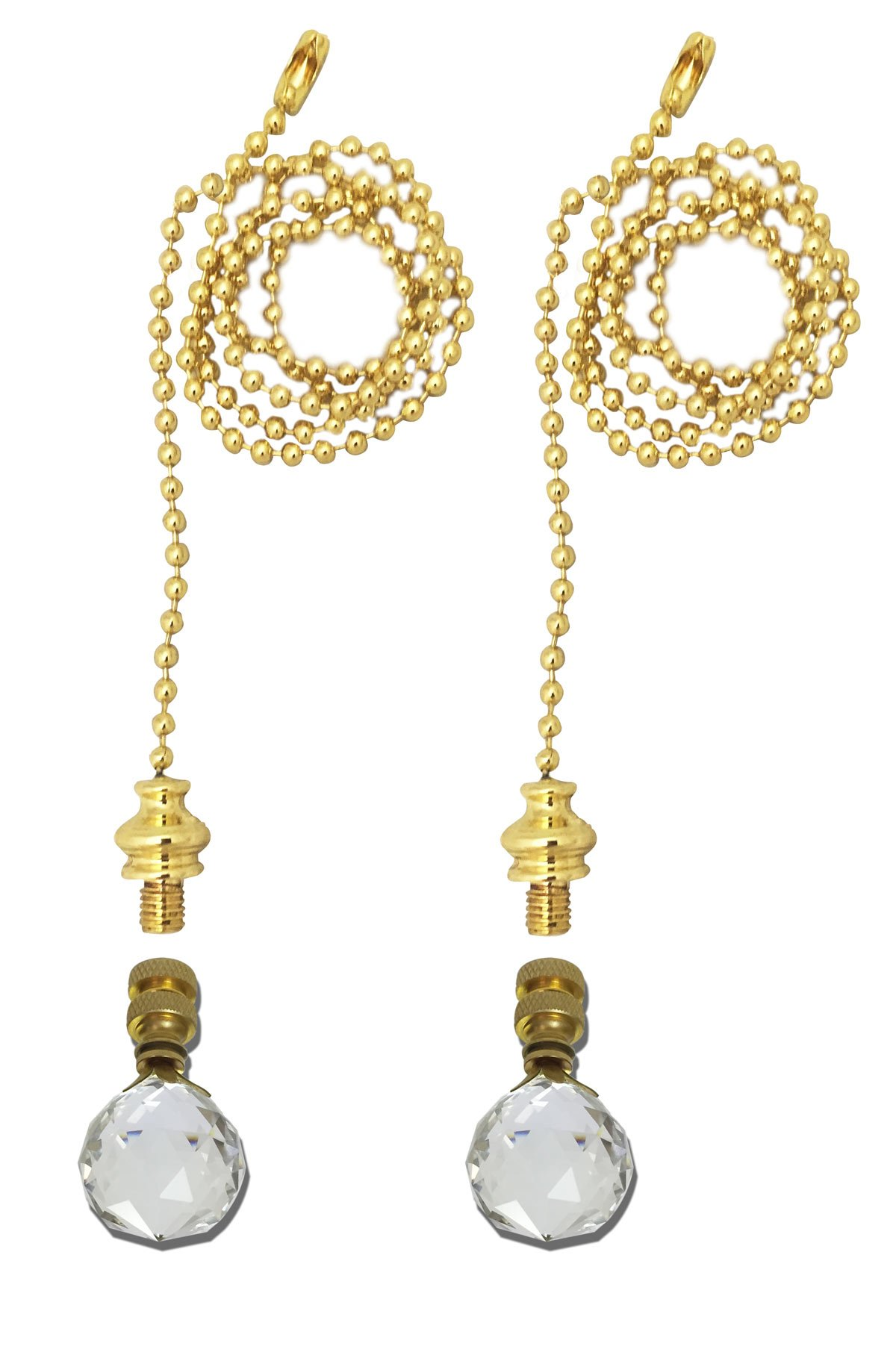 Royal Designs Fan Pull Chain with Medium Faceted Diamond Cut Crystal Finial – Polished Brass – Set of 2