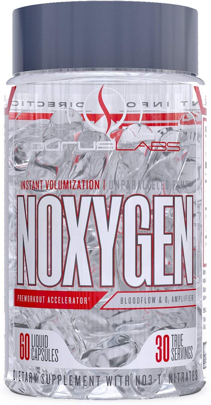 Purus Labs Noxygen Pre-Workout Accelerator | Bloodflow & Oxygen Amplifier | Nitric Oxide Booster | Instant Volumization | Unparalleled Pumps | NO3-T -Nitrates | 60 Liquid Capsules – 30 True Servings